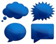4 Cool Blue Chat Bubbles PSD