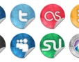 Grunge Style Social Icon Buttons