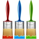 3 Colorful Paint Brushes PSD