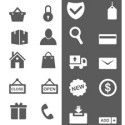 Black and White Vector Shopping Icons