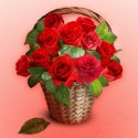 Roses Bouquet in Wicker Basket