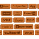 Wooden Icon Set For Popular Social Networks