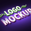 3D Logo Text Effect Template Mockup