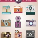 Vintage Cameras Vector Icon Collection