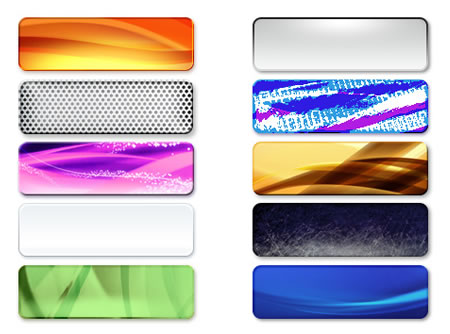 10 Colorful Abstract Rounded Web Buttons PSD free image file download