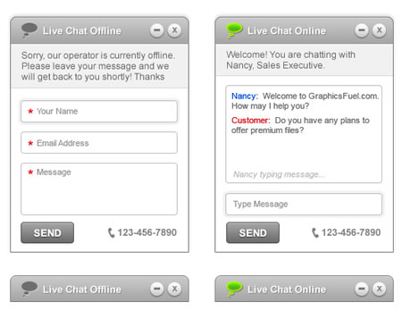 Live Chat User Interface PSD Template download