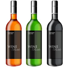 3 Realistic Wine bottles PSD Template