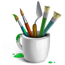 Artistic Paint Brushes and Cup Icon