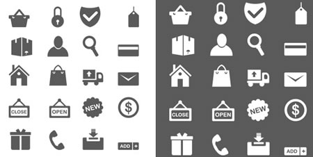 Black and White PSD Shopping Icons