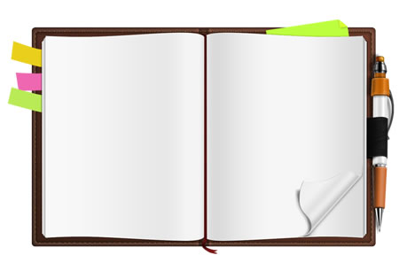 Free blank open notebook template