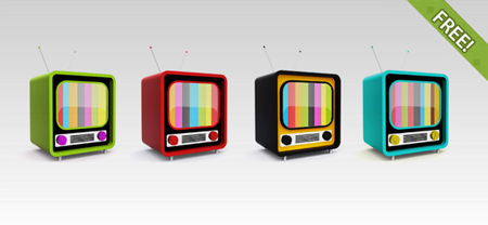 Retro Television PSD Icon
