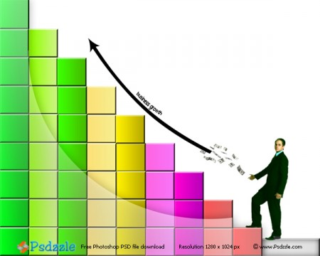 Business Man Growth Chart PSD