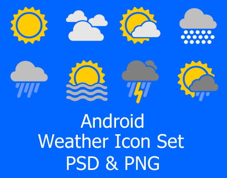Android Weather Icons PSD and PNG