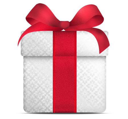 White Gift Box With Red Bow