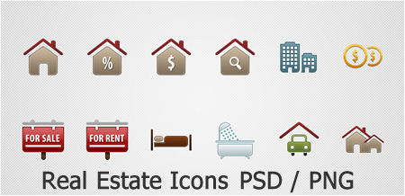 Real Estate Icons PSD and PNG