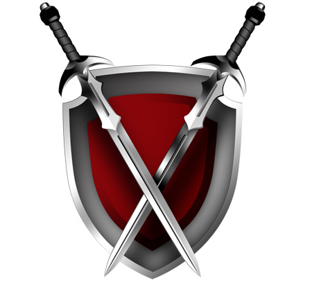 Medieval Crossed Swords and Shield Icon
