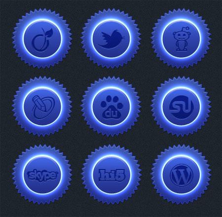 Blue Neon Social Icon Set