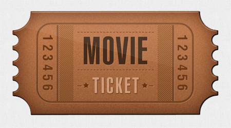 Retro Ticket Icon for Photoshop