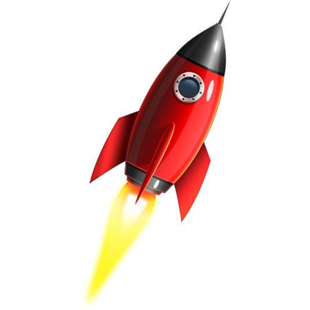 Red Rocket Icon Rocket Ship PSD...