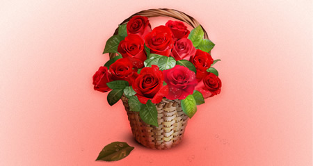 Vector Roses and Wicker Basket