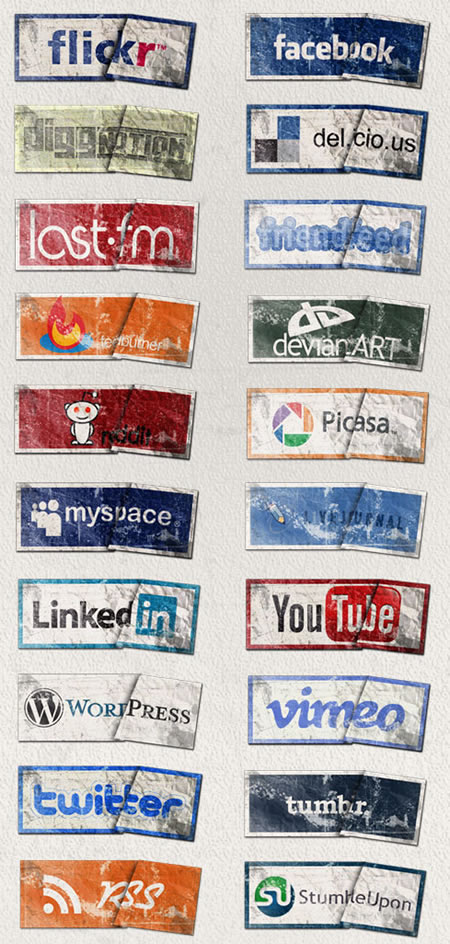 Grunge Style Social Media Icons