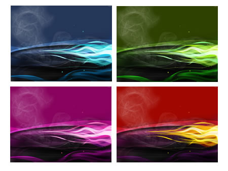 4 Colorful Flame Abstract Backgrounds