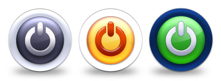 3 Glossy Power Button Icons