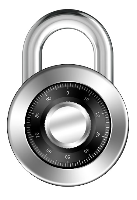 Chrome Style Combination Lock Icon