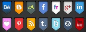 Ribbon Style Social Icon Set
