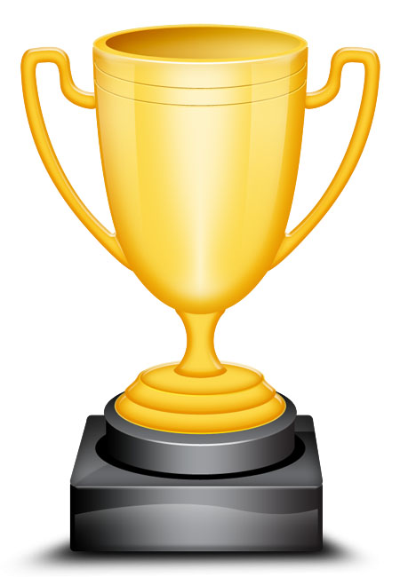 Vector Shaped Gold Trophy Cup Icon
