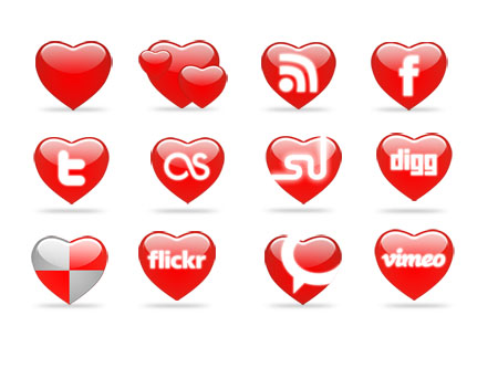 Heart Shaped Social Icon Set