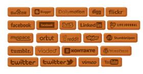 Wooden Social Icon Set