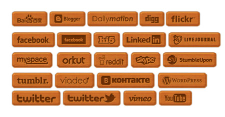 Wooden Social Icon Set