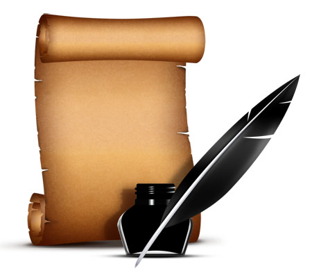 Paper Scroll and Quill Pen PSD