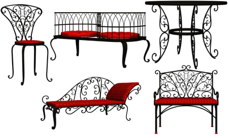 Wrought Iron Outdoor Furniture (PSD)