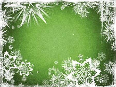 Green Christmas Background With Snowflake Border