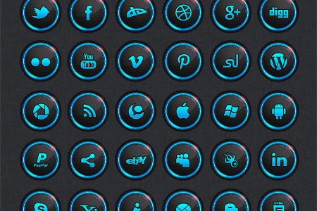 Vector dark social media icon set