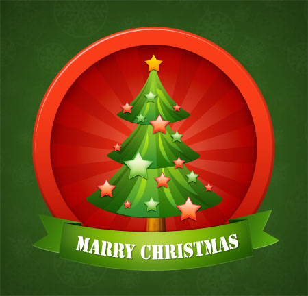 Vector Christmas Tree Icon for Photoshop