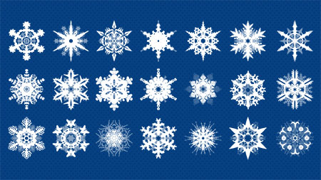 Snowflake shapes and patterns for Photoshop