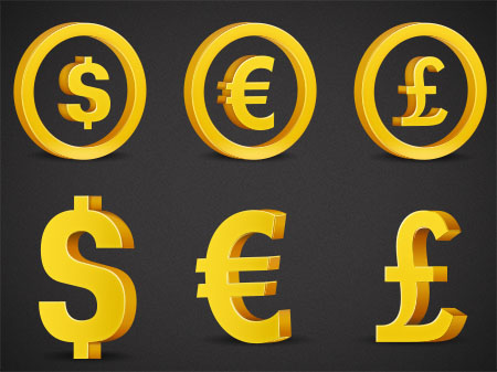 3D Currency Symbols PSD