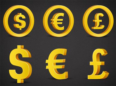 3D Currency Symbols (PSD)