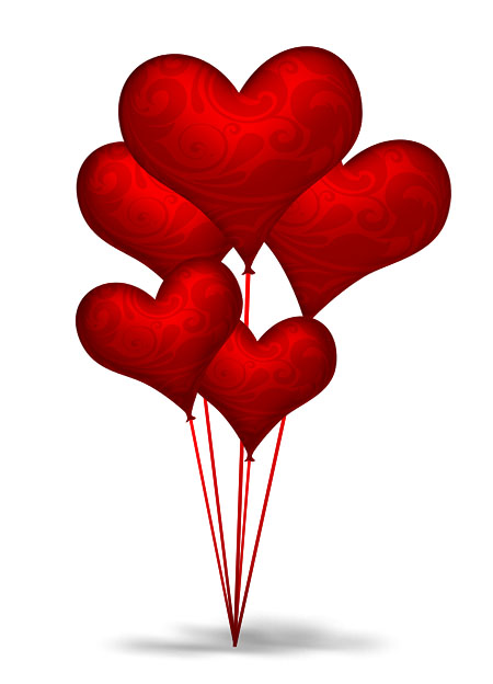 Red Heart Shaped Balloons PSD