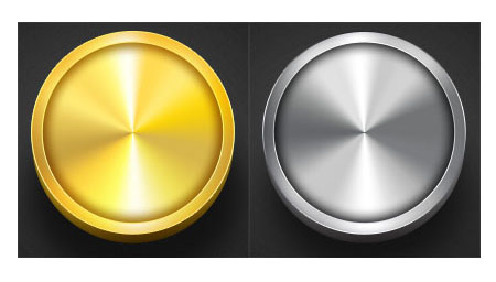 Round silver and gold metal buttons