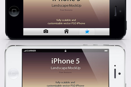 iPhone 5 Mockup Lanscape PSD