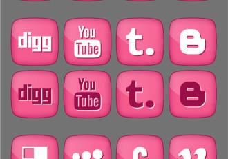 Pink Social Media Icon Set