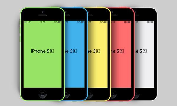 A set of five <strong>iPhone 5c Templates</strong>. The PSD file include all iPhone 5c colors and are fully editable so creating custom colors are a snap.