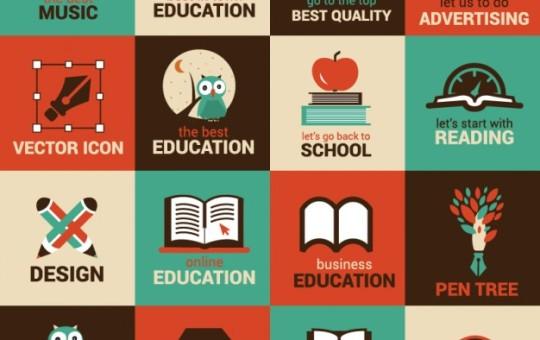 Flat Education & Science Symbol Vectors