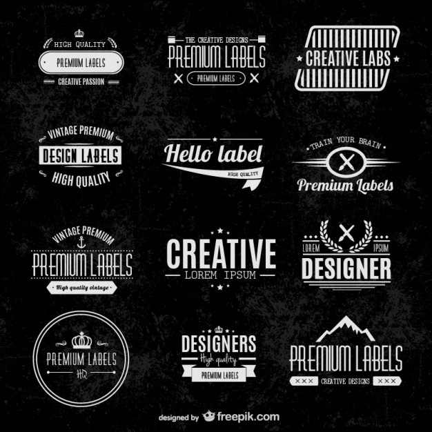 vector typographic label set