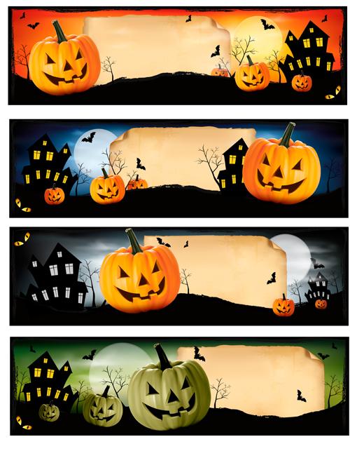 Spooky Halloween Pumpkin Banners