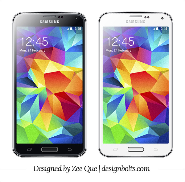 Free Vector Samsung Galaxy S5 Template Mockup for illustrator. Download includes both black & white versions.